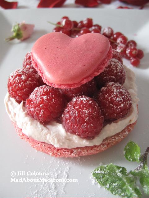 raspberry rose macaron dessert
