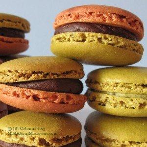 chocolate pistachio Parisian macaron stack