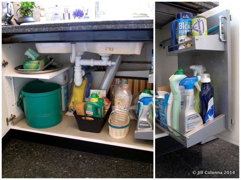 organising space under the kitchen sink cupboard