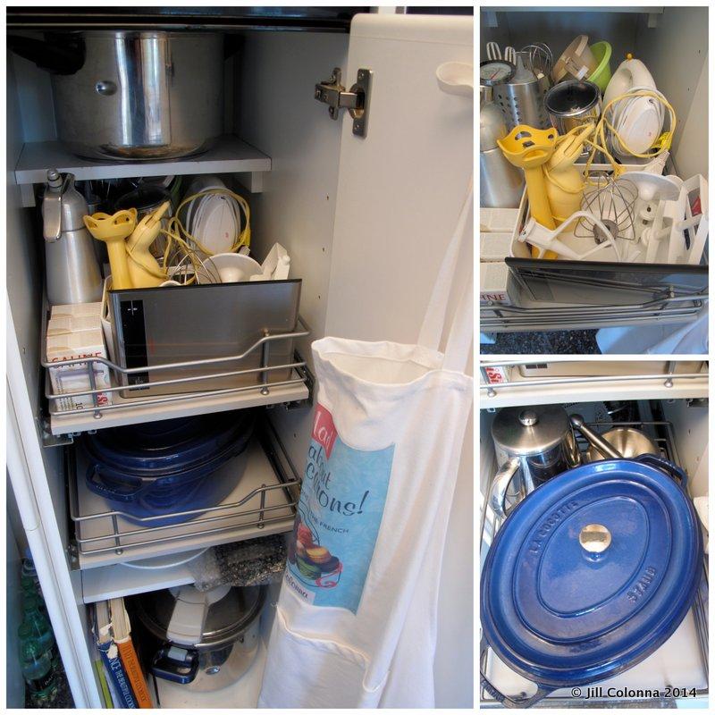 deep slider cabinet organiser for kitchen pots and utensils