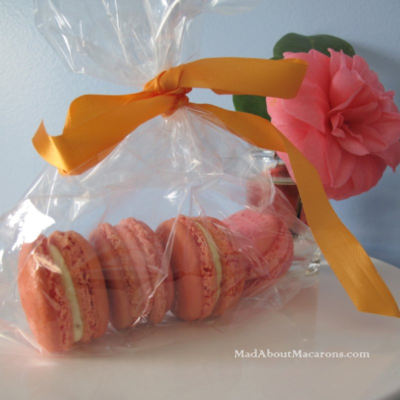 rose and orange blossom macarons for Mother's Day gift