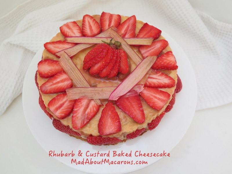 Rhubarb and Custard Baked Cheesecake with Strawberries