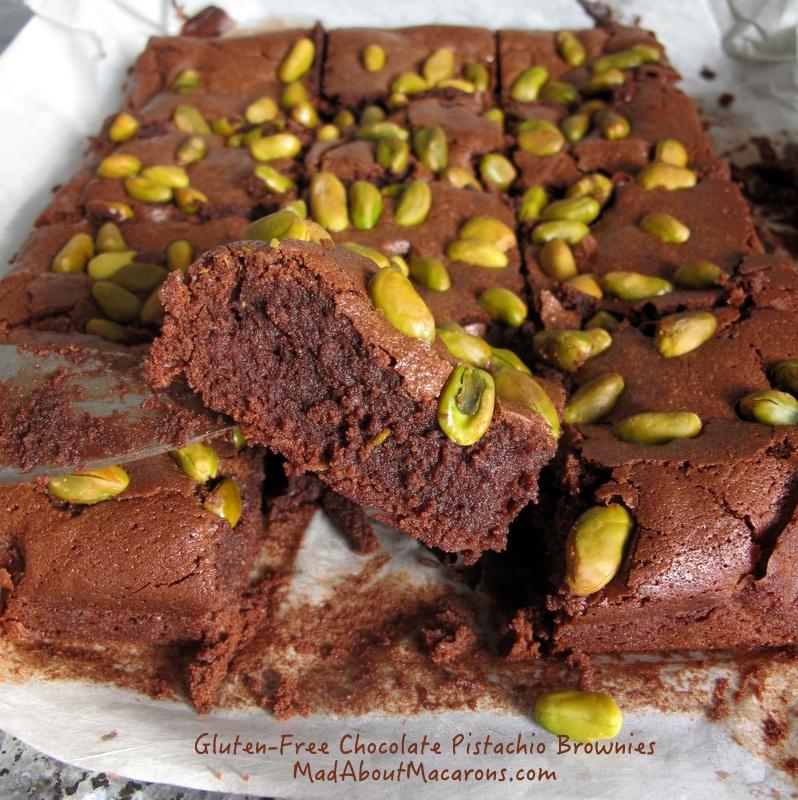 gluten-free chocolate pistachio brownies