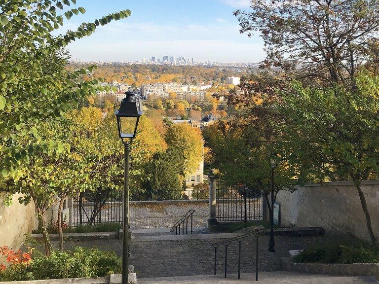 view of Paris autumn from St Germain en Laye