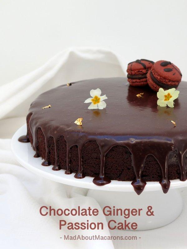 Chocolate Ginger Passion Cake #Macarons