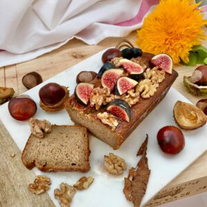 Banana chestnut loaf with walnuts and figs