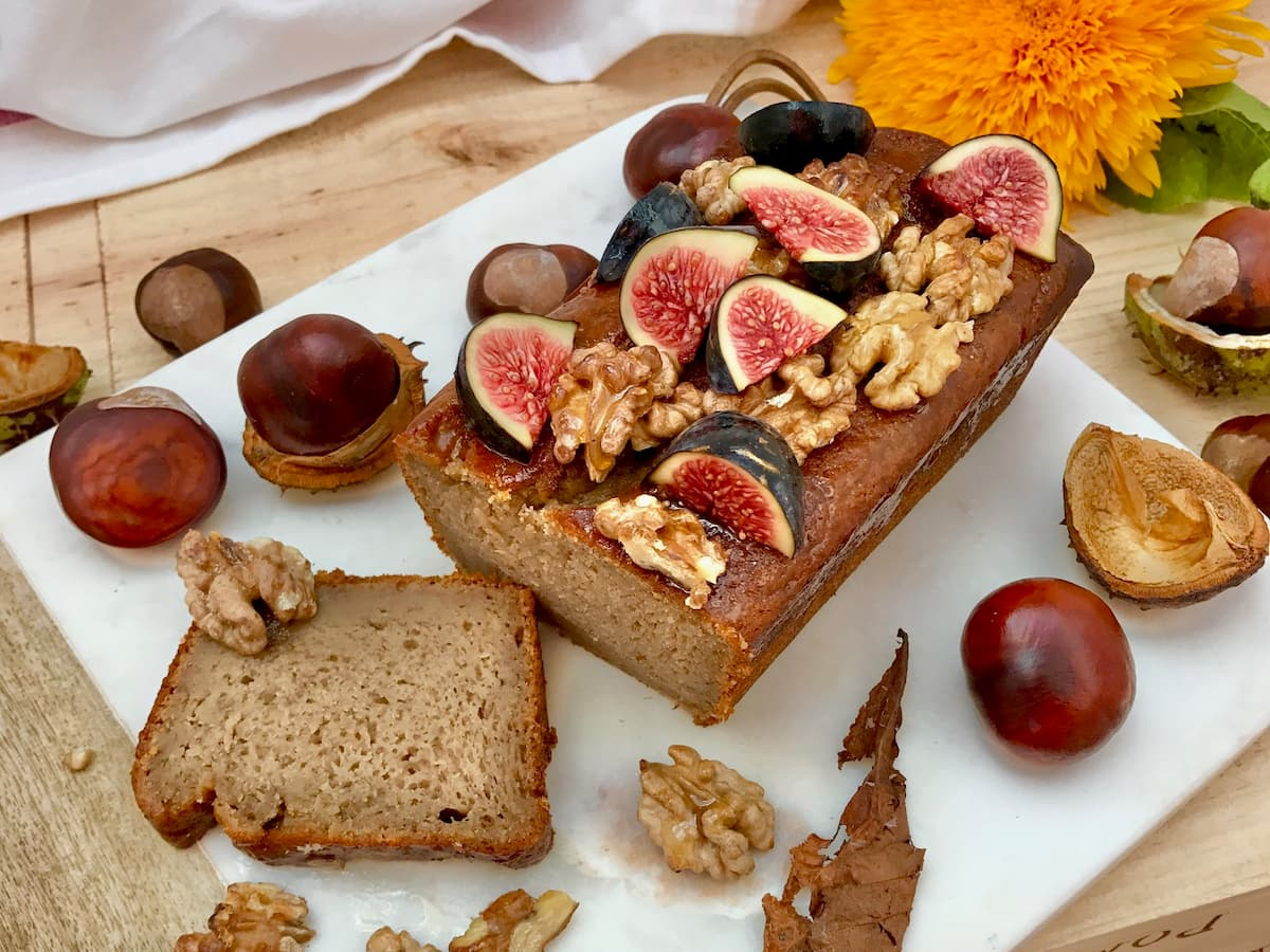 banana bread with walnuts and figs