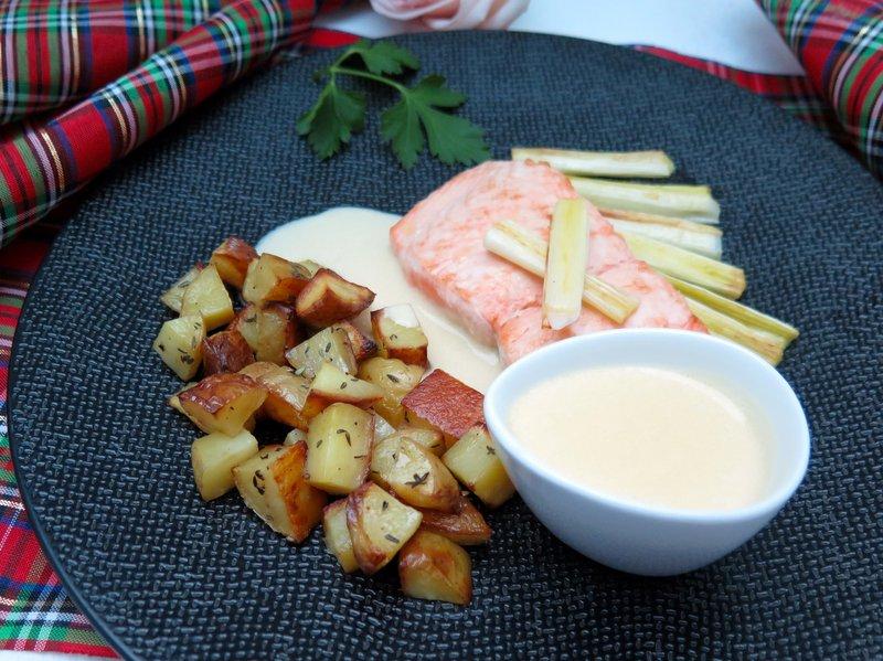 smoked tea beurre blanc salmon