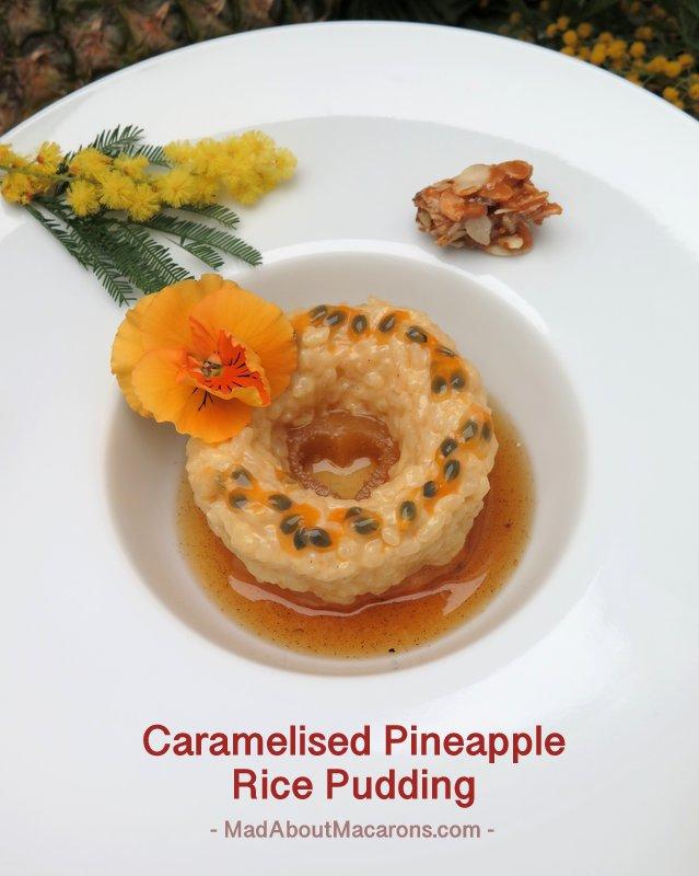 Caramelised pineapple rice pudding