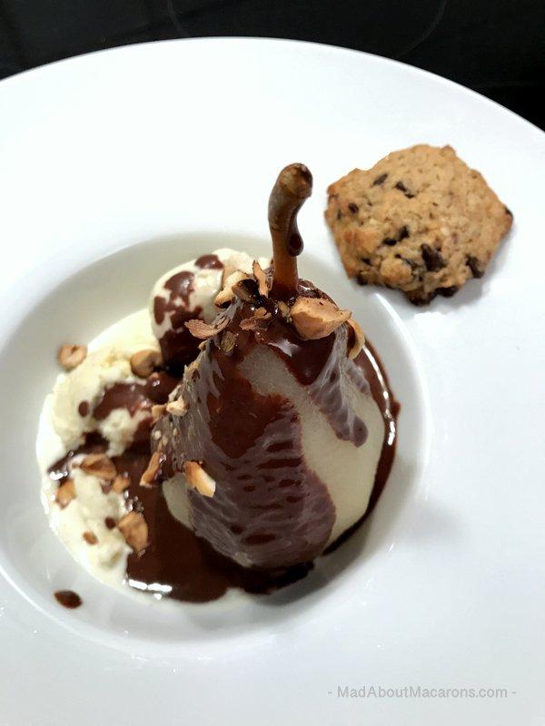 Poire Belle Helene Hazelnuts #dessertstory #dessertrecipes #chocolatepear