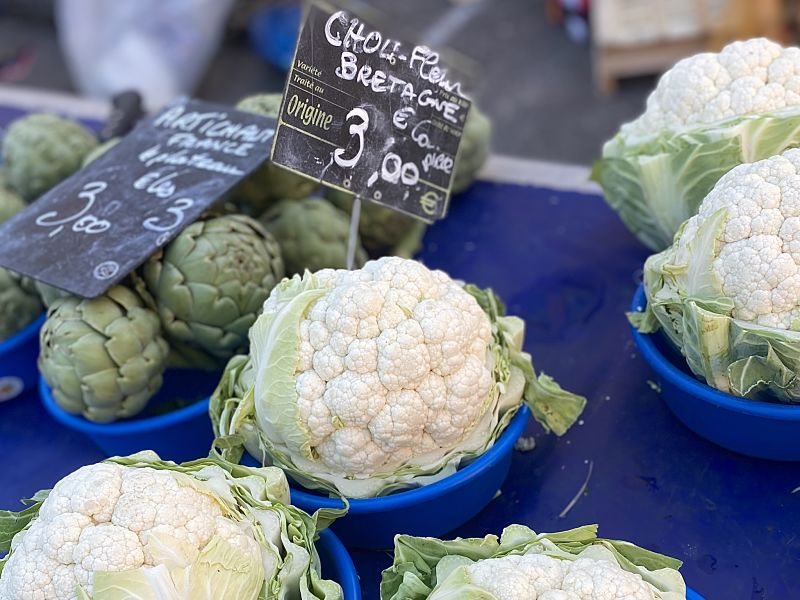 cauliflowers in bowls at the French market