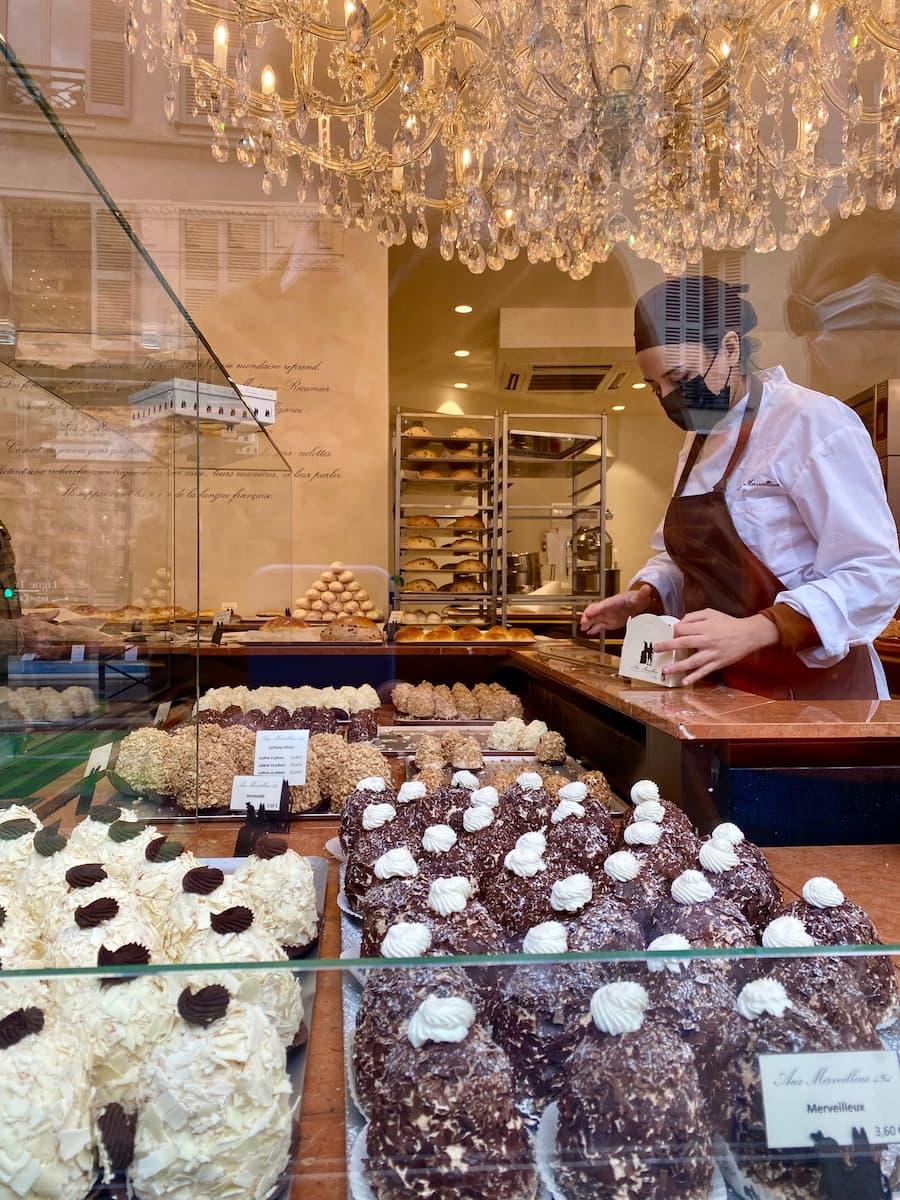 bakery window meringue cakes