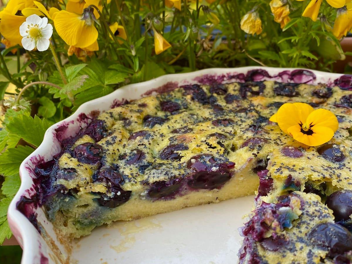blueberry lemon clafoutis dessert slice